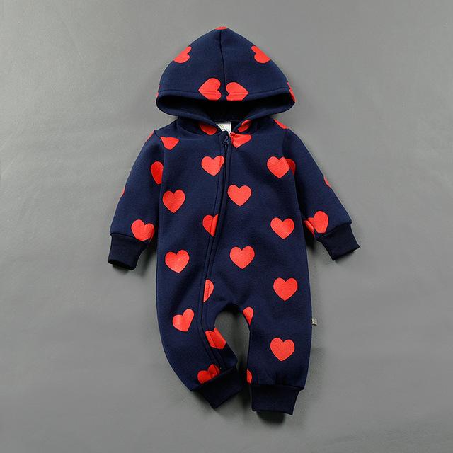 Roupas de bebê Macacão de Bebê do Inverno Do Natal trajes para meninos meninas Zipper amor recém-nascidos Macacões Kid Jumpsuit Crianças Outerwear