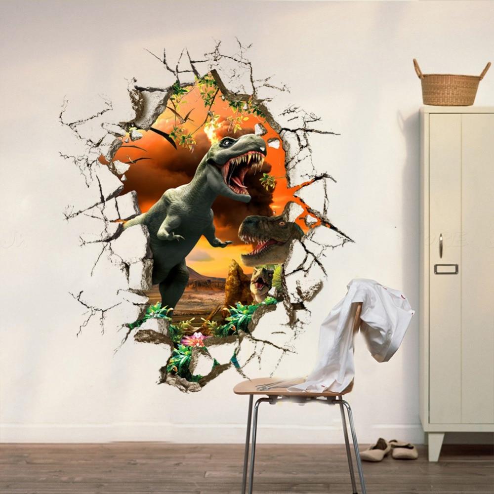 3D angry dinosaur wall stickers boys bedroon decor break door stickers cartoon self adhesive wall decals