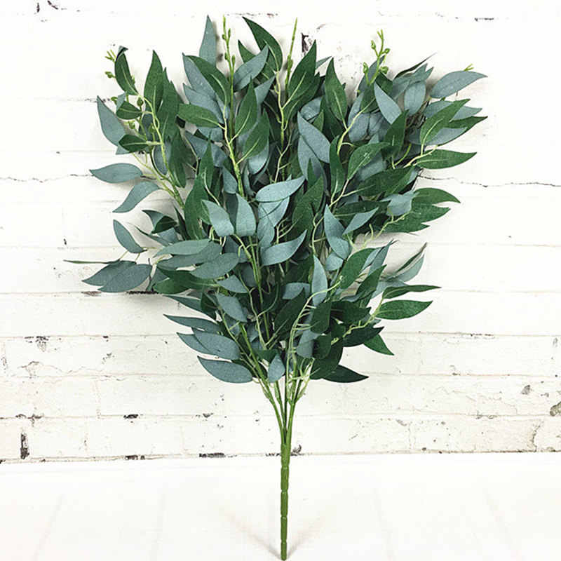 Artificial willow bouquet fake leaves for Home Christmas wedding decoration jugle party willow vine faux foliage plants wreath