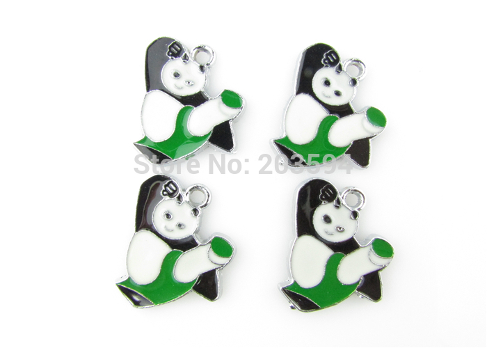 AE72 100Pcs Mixed Enamel Alloy Panda Athlete Charms Pendants DIY Jewelry Findings Floating Charm 26x25mm