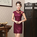 New Fashion Summer Dress Lace Cheongsam Traditional Chinese Dress Short Sleeve Red Lace Dress Vestidos Party Women Dress S-XXL