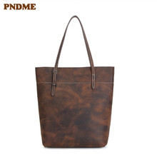 PNDME simple cintage crazy horse cowhide tote bag casual genuine leather female weekend shopping bag large handbag for women цены