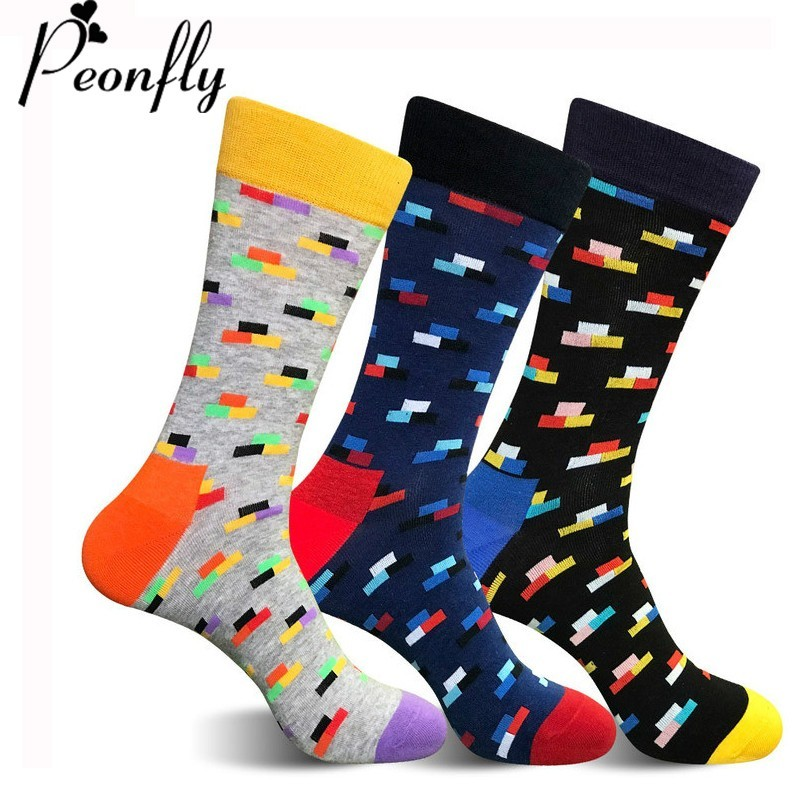 PEOONFLY Fashion Funny Art Socks Men Comfortable Casual Cotton Harajuku Long Socks Men Novelty Happy Colorful Pattern Socks