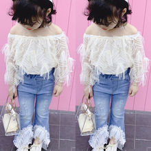 Kids Toddler Baby Girl Outfits White Long Sleeve Off Shoulder Lace Top Bell Bottom Denim Pant Clothes Set for Children off the shoulder bell sleeve top