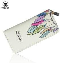 TZECHO Women Wallets PU Print Dream Catcher Carton Long Ladies Purses Coin Pocket Card Holder Clutch Zipper Wallets for Women