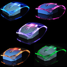 2.4GHz Wireless Mouse Transparent Ultra Thin Luminous Optical Mice for PC Laptop Q99 SL@88
