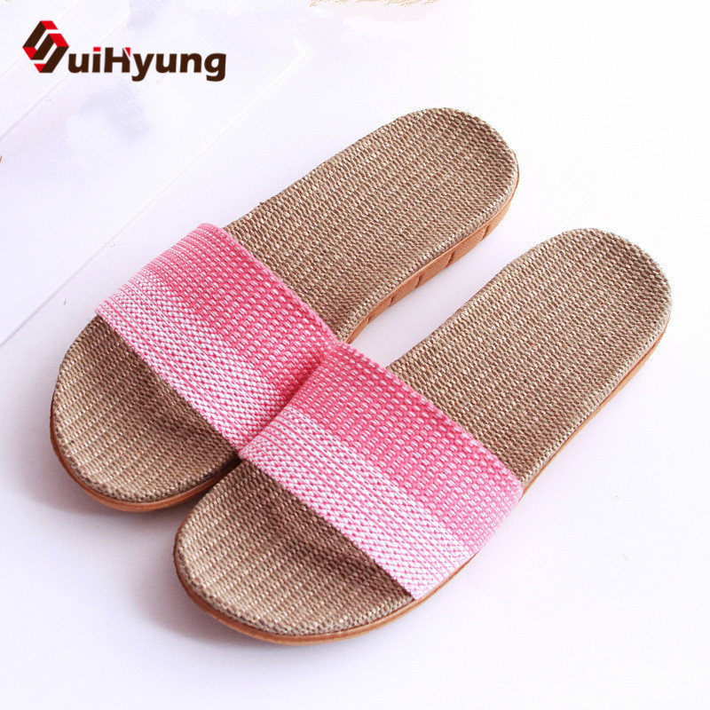Suihyung 2018 New Women Flat Shoes Home Floor Non-slip Slippers Ladies Colored  Beach Flip Flops Sandals Female Linen Slippers coolsa women s summer linen flip flops slippers women flat indoor hemp non slip flip flops women s flax slippers beach flip flop