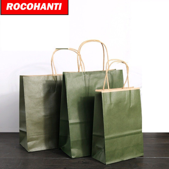 100x Recycled Custom Printed Kraft Paper Shopping Bags With Twisted