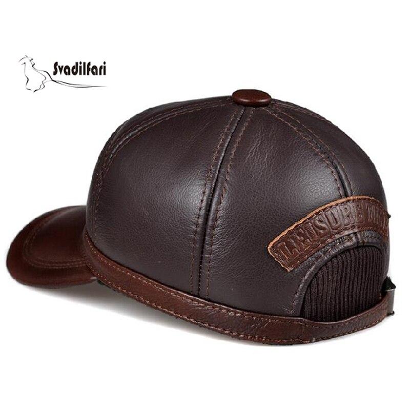 Svadilfari Hot Seller hiver 2018 peau de vache Baseball personnes âgées casquette cadeau pour papa maman en cuir véritable oreille homme femme chaud chapeau décontracté - 4