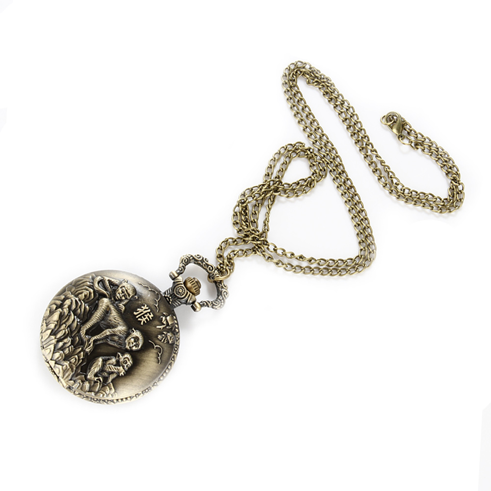Vintage Chinese Zodiac Monkey Playing Quartz Pocket Watch Necklace Pendant Chain Clock For Women Men Gifts Lxh Watches