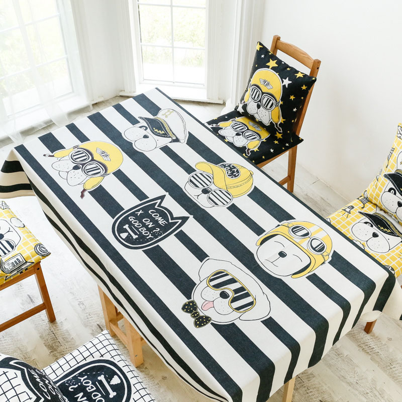 Simple Yellow Black Cartoon Hand painted Trend Coffee Table Tablecloth Fabric Kitchen Table Cloth Cotton 5