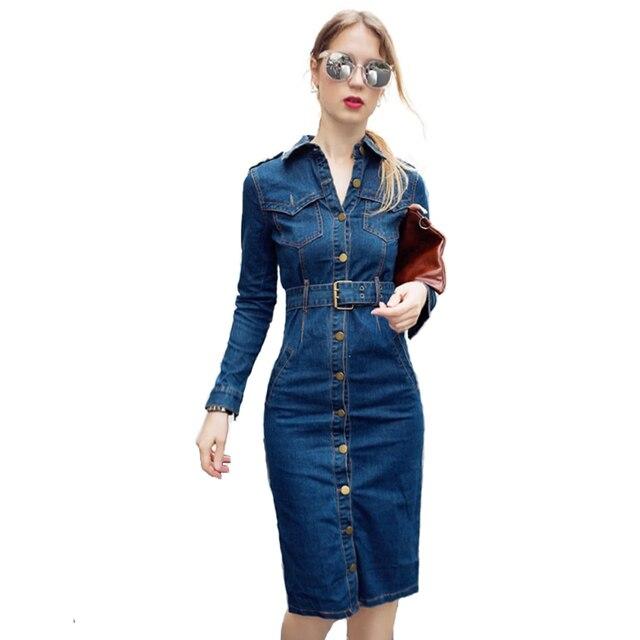 6361ef99333f Plus la Taille Or Boutons Large Ceintures Longues Jeans Robe Femme épais  Sexy Serré Taille Patchwork