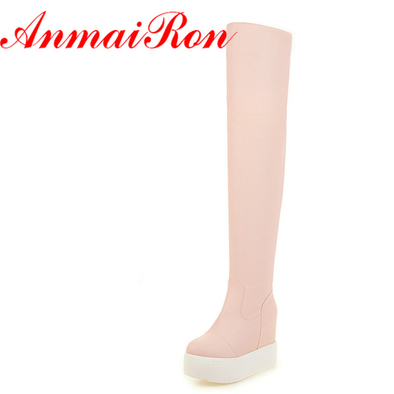 ANMAIRON Autumn Winter Wedges Platform Boots Women Slip On Tight Boots Sexy High Heel Thigh High Boots Black White Pink Shoes
