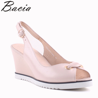 Bacia Spring New Fashion Sheep Skin Pumps Print Sandals Wedges Heel Women High Quality Genuine Leather