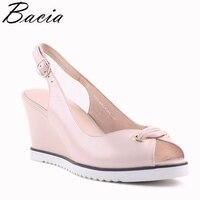 Bacia Spring New Fashion Sheep Skin Pumps Print Sandals Wedges Heel Women High Quality Genuine Leather