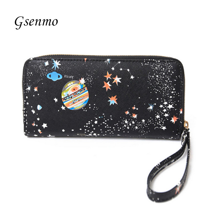 Universe Space Women Wallets Purse Female New Arrival Women's PU Leather Wallets Ladies Clutch Phone Bag Carteira Feminina candy leather clutch bag women long wallets famous brands ladies coin purse wallet female card phone holders carteira feminina