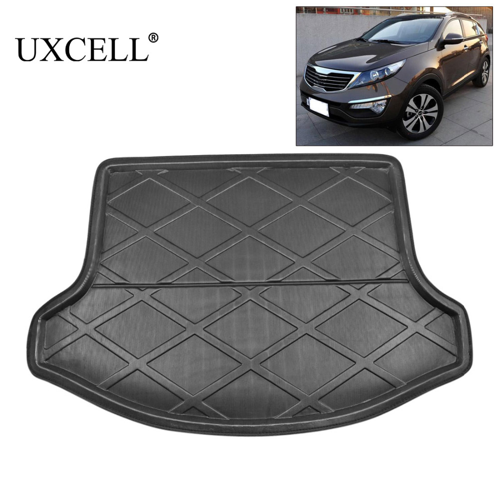 UXCELL PE+EVA foam plastic Black Rear Car Trunk Boot Liner Cargo Mat Floor Tray Carpet Cover for Kia Sportage R 2011 TO 2017 areyourshop auto cargo mat boot liner tray rear trunk sticker dog pet covers for kia soul 2009 2010 2013 car covers