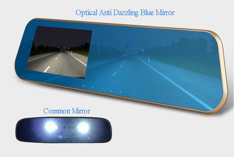 Digitale Video Recorder Auto Blauw Spiegel Auto Dvr Dual Lens Camera Achteruitkijkspiegel Voertuig Griffier 24H Parking Monitoring