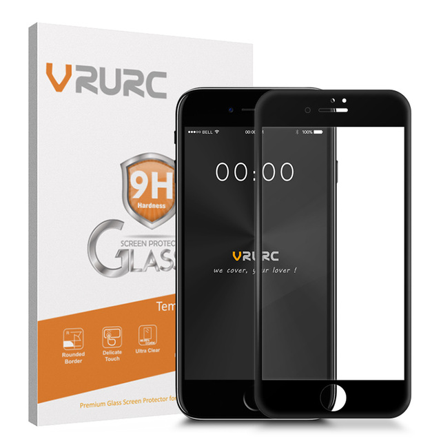 Vrurc Tempered Glass for iPhone 7 3D Curved edge Full Cover Screen Protector  Glass protective film with retail package