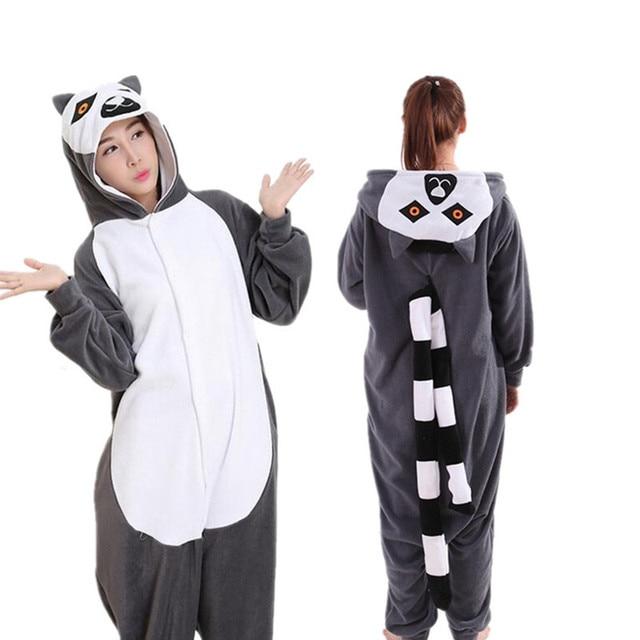 54f5364e001c Cartoon Animals Long Tail Lemur Onesies Adults Winter Warm Womens Pajamas  Men s Pokemon Pajamas Unisex Funny Pajamas