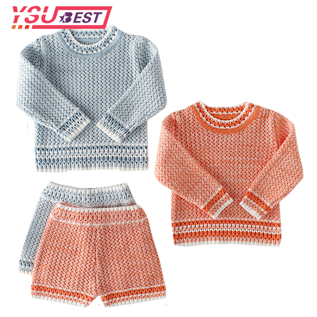 7f5eddbce204 New Baby Girls Boys Set Knit 2 Pieces Pullover+ Shorts Knitted Wool ...