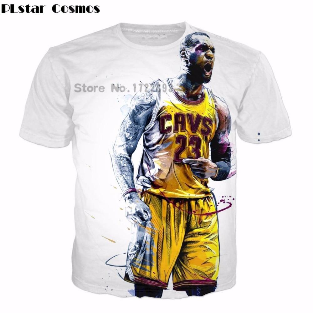 PLstar Cosmos 2018 summer new arrival Men Women Fashion T-shirts star character Lebron James 3d print casual Hip hop t shirts