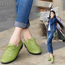 ELGEER Womens Genuine Leather shoes spring and autumn new casual shallow mouth flat Flat sneakers womens