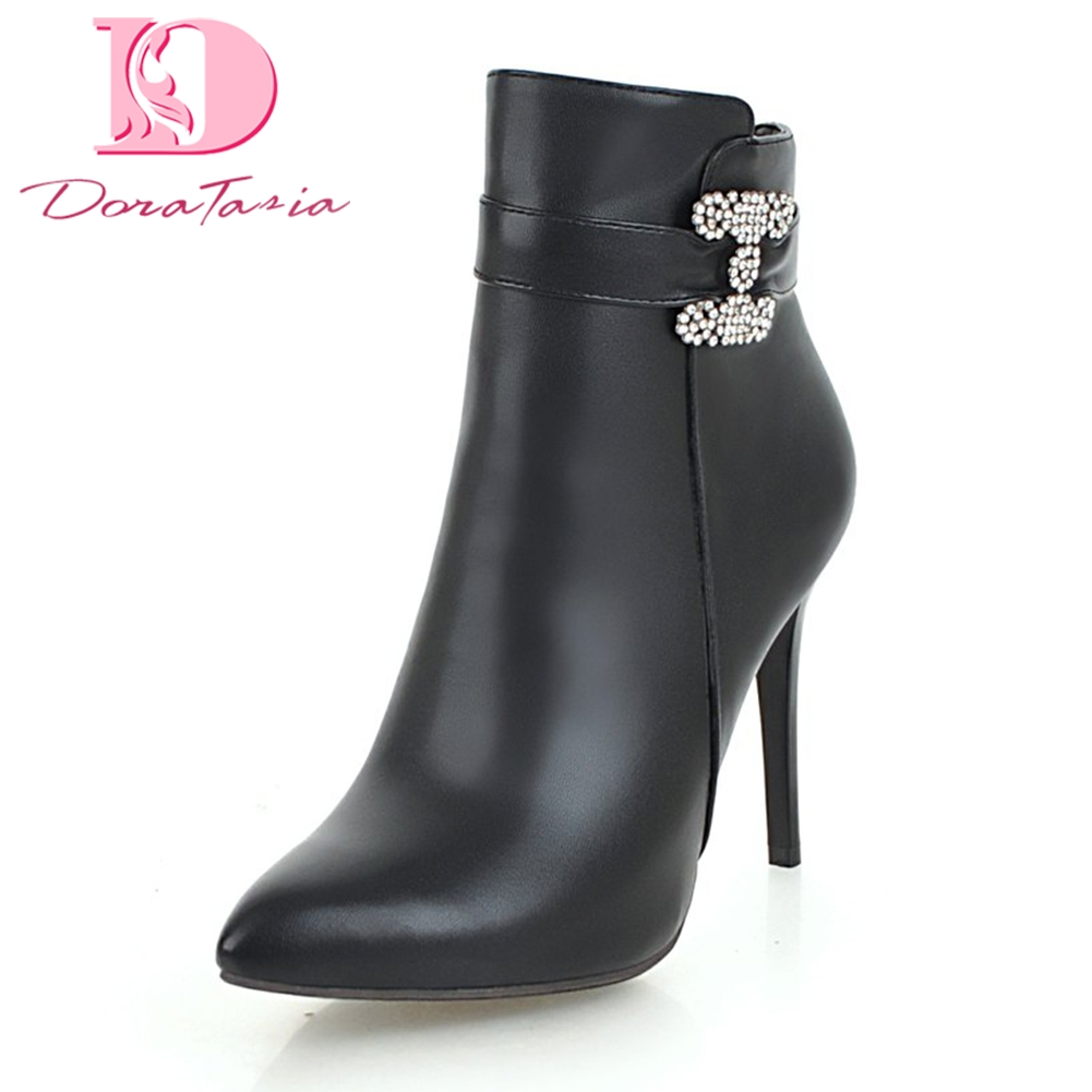 Doratasia Plus Size 34-43 sexy crystals Solid Pointed Toe party Boots Woman Shoes Sexy Thin high Heels Ankle Boots Shoes Woman doratasia 2018 plus size 32 43 add fur warm winter boots women thin high heels pointed toe party wedding ankle boots woman shoes