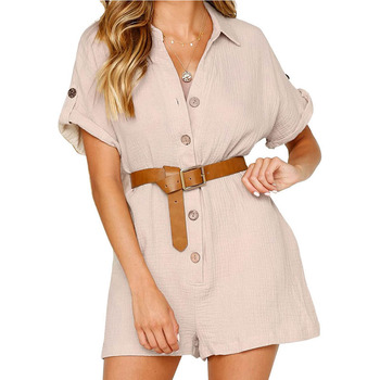 European and American fashion womens 2019 spring summer new cotton linen shirt button jumpsuit T6