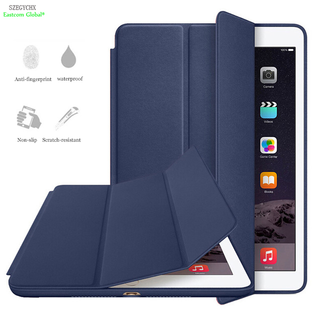 Ultra Slim Smart Cover Stativveske For Apple iPad Air 1 A1474 A1475 A1476 For iPad 5 Case Auto Wake / Sleep med LOGO