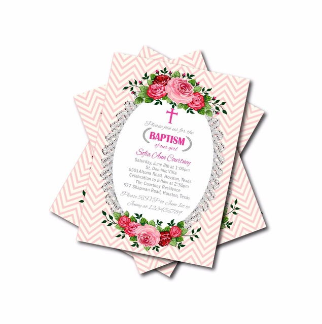 20 pcslot personalized Baby Pink Chevron Baptism Invitations Girls