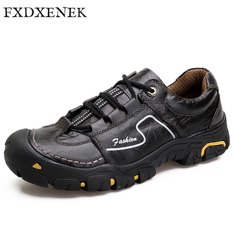 FXDXENEK Handmade 2017 Casual Male Shoes Genuine Leather Shoes Waterproof Soft Quality Comfortable Footwear Men boots Size 38-44 caltus male casual shoes soft footwear classic genuine leather men platform flats good quality working shoes size 38 44 aa20537