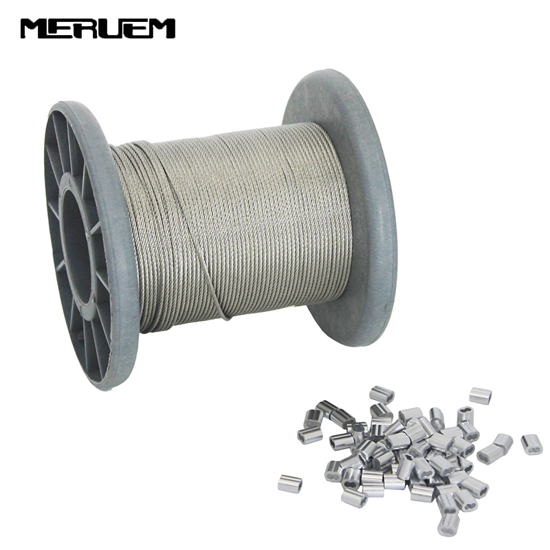 50M/100M 304 Stainless Steel Wire Rope Climbing harness Steel Cable 1.2mm,1.5mm Diameter+50/100 PCS Sleeves Aluminium