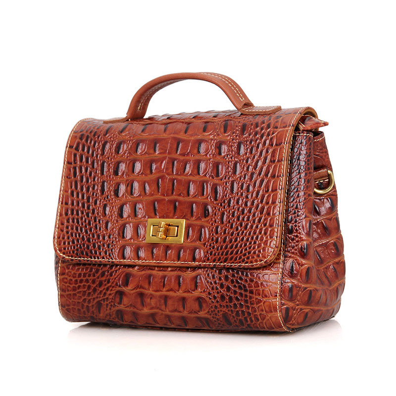 Vintage Alligator Pattern Genuine Leather Small Women Messenger Bags Cowhide Woman handbags Shoulder Bags #M001
