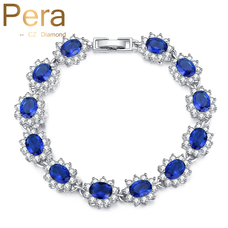Pera Vintage Royal Jewelry Sterling 925 Silver Oval Blue Cubic Zirconia Link & Chain Bracelet For Women Christmas Gift B014 цена