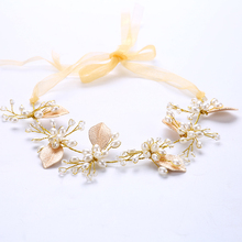 TUANMING Gold Leaf Simulated-Pearl Tiara Jewelry Transparant Manmade Crystal Beads Hair accessories Party Wedding Gold ribbon