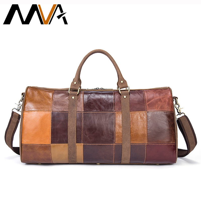 MVA Genuine Leather Suitcase and Travel Bags Large Big Patchwork Men Travel Bags Leather Carry On Luggage Casual Duffle Bag 1099 genuine leather men travel bags carry on luggage bags men duffel bags travel tote large weekend bag overnight