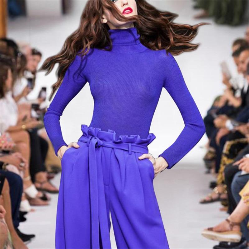 2019 ฤดูใบไม้ผลิ Catwalk Designer 2 ชิ้นชุดผู้หญิงแขนยาวถัก Top + กางเกงเอวสูงชุด 2 ชิ้นชุด-ใน ชุดสตรี จาก เสื้อผ้าสตรี บน AliExpress - 11.11_สิบเอ็ด สิบเอ็ดวันคนโสด 1