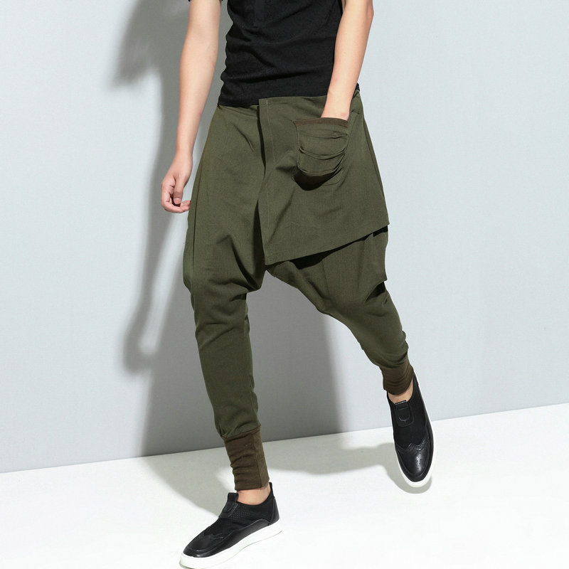 Штаны-шаровары в стиле хип-хоп мужские однотонные уличные Мужские штаны для бега повседневные тонкие брюки с перекрестными ремешками удобные спортивные штаны черные Модные Зеленые