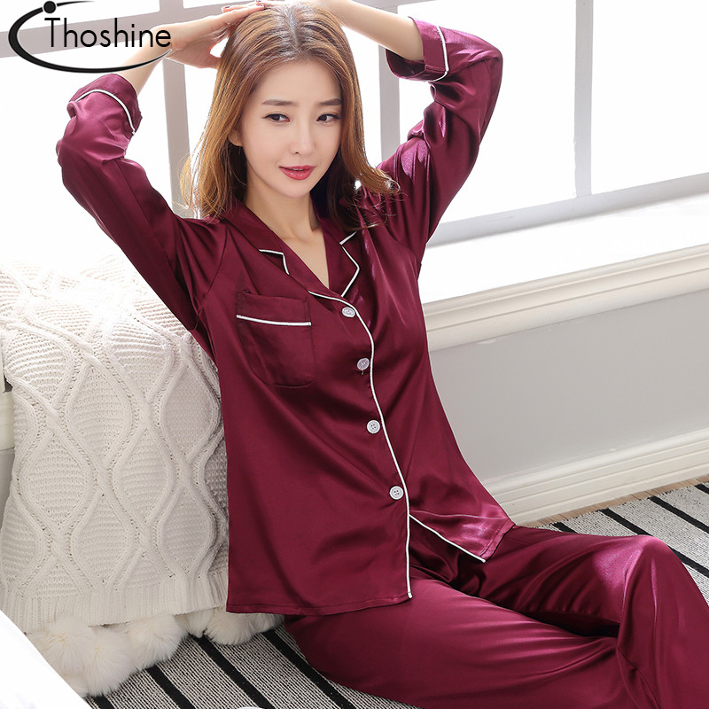 Thoshine Brand Spring Summer Autumn Satin Silk Women   Pajamas     Sets   Patchwork Turn Down Collar Sleepwear Female China Pijama Suit