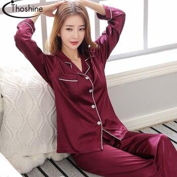 Thoshine Marke Frühling Sommer Herbst Satin Seide Frauen Schlafanzug Setzt Patchwork Drehen Unten Kragen Nachtwäsche Weibliche China Pijama Anzug