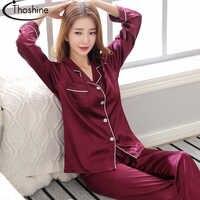 Thoshine marca primavera verão outono cetim de seda feminino pijamas conjuntos retalhos turn down collar pijamas feminino china terno