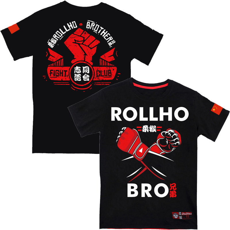 Monkey ROLLHO Fighting Gym Fighting Sports Short Sleeve Muay Thai Speed Dry T-shirt  Sport MMA Sanda Man