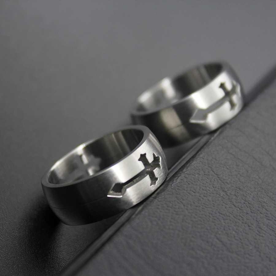 Hemiston ไทเทเนียมเหล็กแหวนกลวง,แหวนสแตนเลสสตีล TS แหวนสำหรับผู้ชายผู้หญิงของขวัญ