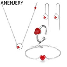 ANENJERY 4 Style Simple 925 Sterling Silver Jewelry Sets Red Heart Necklace+Earrings+Ring+Bracelet For Women Gift(China)