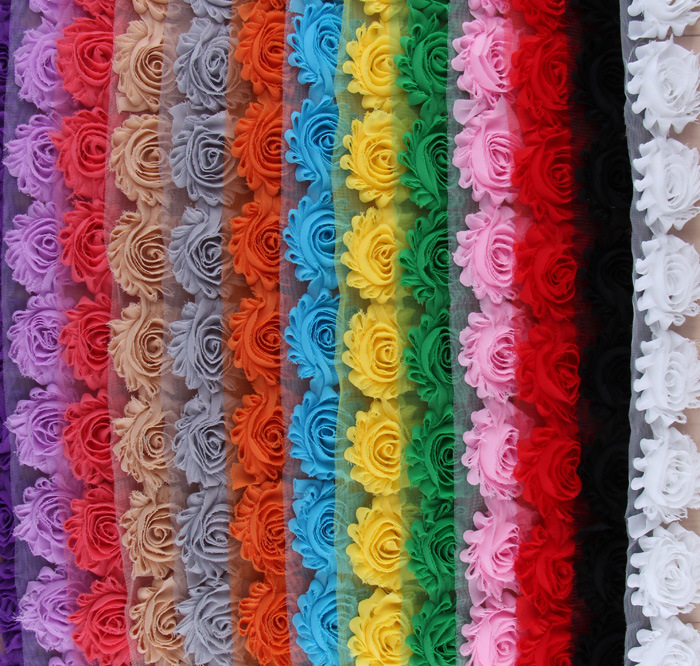 """Wholesale 40 yards High Quality 2.5"""" Frayed Chiffon Shabby Flowers Chic Lace Flower Trims 15Colors Free Shipping"""
