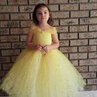Elegant Yellow Girls Party Tutu Dress Princess Dress Stunning Yellow Glittery Tulle Baby Girls Tutu Dress Flower Girl Dresses