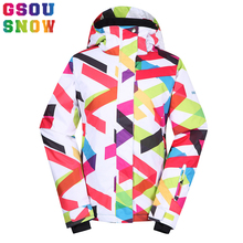 Gsou Snow Winter Women Ski Jacket Waterproof Breathable Snow Hooded Coat Thicken Colorful Stripe Female Outdoor Snowboard Jacket