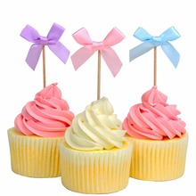 Set of 24 Bowknot Cupcake Toppers for Baby Showers and Other Parties