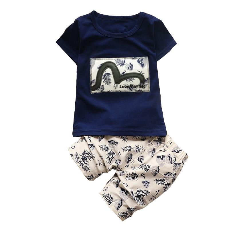 Bibicola для маленьких мальчиков летняя одежда Мода 2017 г. Детский комплект одежды для мальчиков детская одежда для маленьких мальчиков Футболка + брюки спортивный костюм
